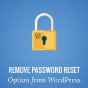 How to Remove the Password Reset / Change option from WordPress