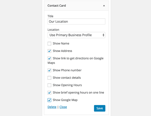 Showing your business address in a sidebar widget