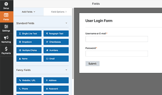 Editing user login form