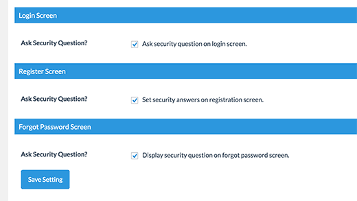 Schakel beveiligingsvragen in over aanmeldings-, registratie- en verloren wachtwoordpagina's
