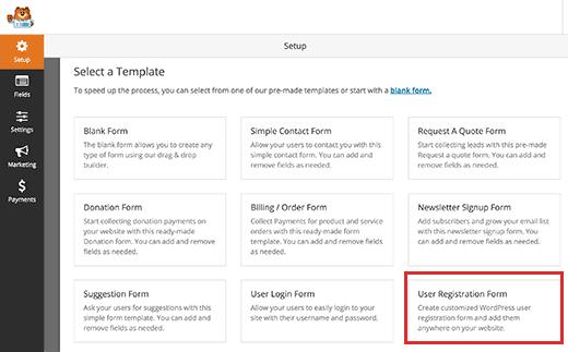 User registration form template