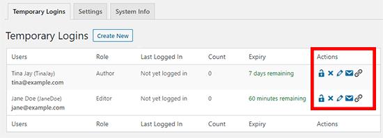 Manage temporary logins