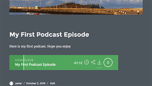 Podcast player in WordPress