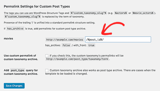 Adding tags to customize custom post type permalinks