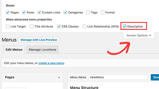 Enabling description field for navigation menus in WordPress