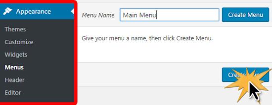 Creating the main menu in WordPress