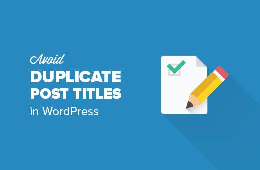 Voorkom dubbele titels in WordPress