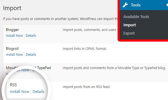 wix to wordpress migration using RSS