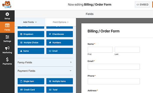 WPForms edit fields