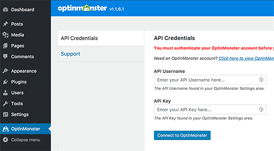 Connect to your OptinMonster account