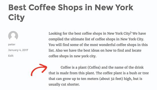 Alleen de eerste regel van een alinea in WordPress inspringen