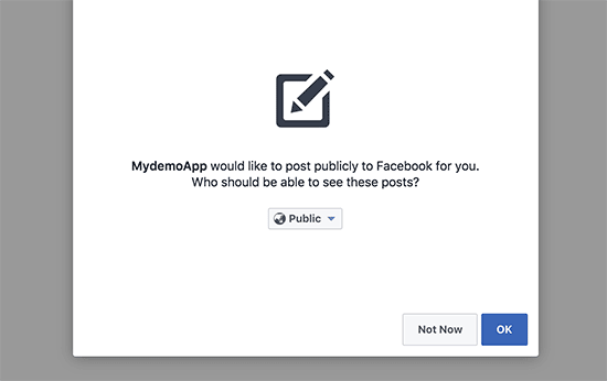 Allow permissions to post on Facebook