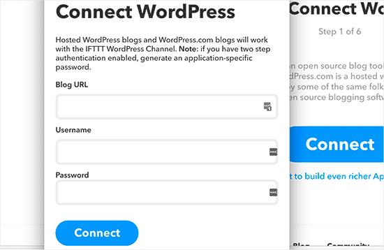 Enter your WordPress website details