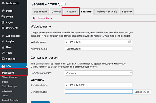Yoast SEO - Your Info