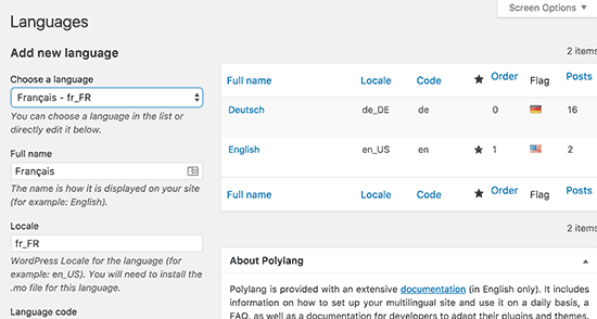 Talen toevoegen in Polylang