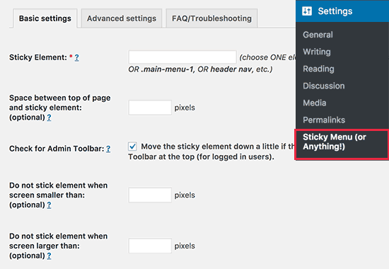 Sticky Menu plugin setting
