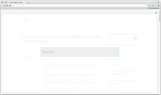 Full screen search overlay on a WordPress site