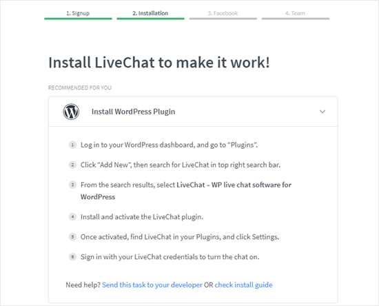 The Installation step, with the LiveChat WordPress plugin recommended