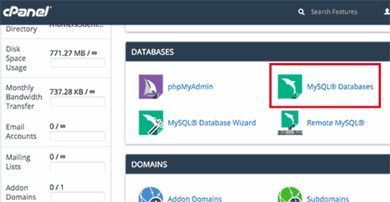 MySQL-databases in Cpanel
