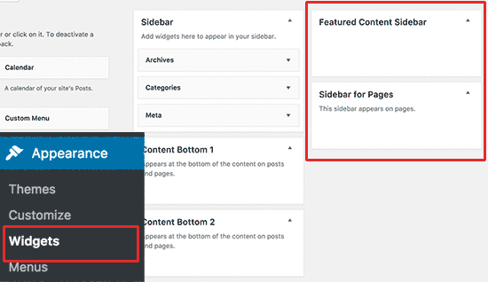 Add widgets to custom sidebar