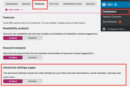 Enable advanced settings pages in Yoast SEO