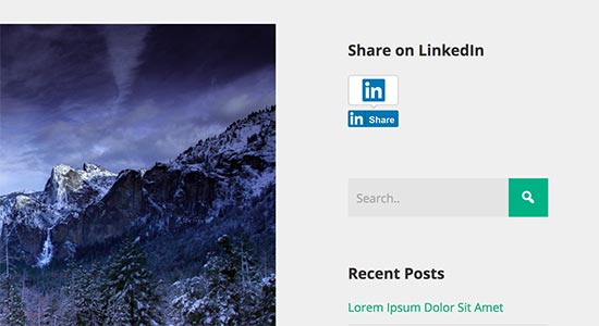 LinkedIn share button in sidebar