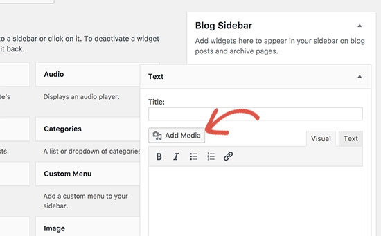 Add media button in the text widget WordPress Digimark Times
