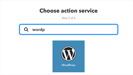 Choose WordPress as action service