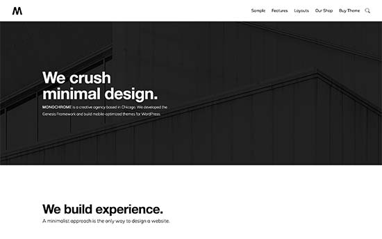 Need Even More Minimalism In Your Sites Design Check Out Monochrome This Ultra Minimalist WordPress Theme Features Lots Of White Space Clean Typography