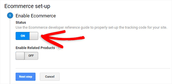 Schakel eCommerce-tracking in