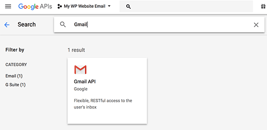 Select Gmail API