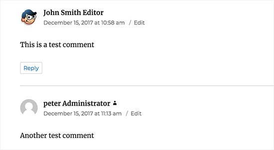 User role label shown next to their comment