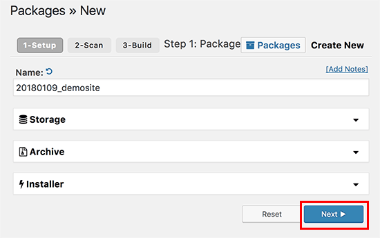 Creating a new package in Duplicator