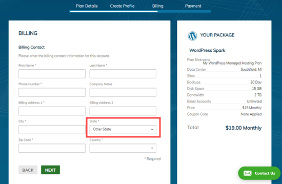 Adding your billing details, including your address, to your Liquid Web account