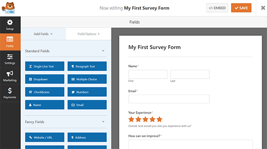 Survey form template