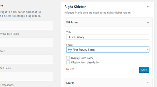 Survey form widget