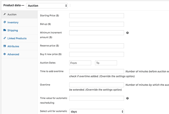 Auction item settings