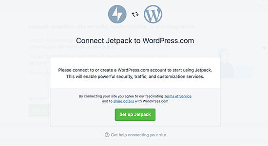Connect JetPack to WordPress.com