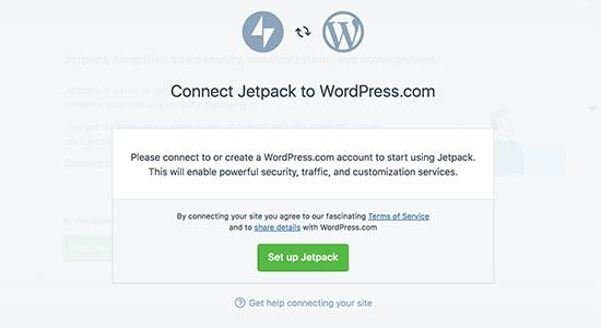 Sluit JetPack aan op WordPress.com