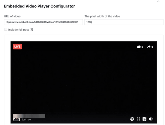 Facebook Live video embed code generator