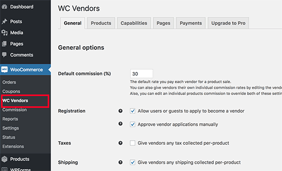WC Vendors settings