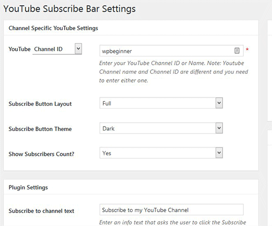 YouTube Subscribe Bar Settings