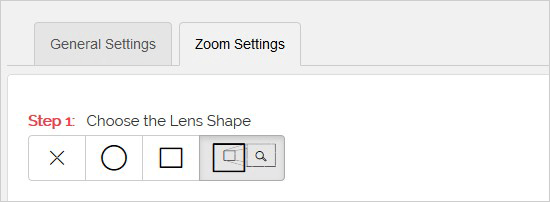 Select Zoom Lens Shape
