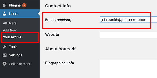 Change your author profile email address