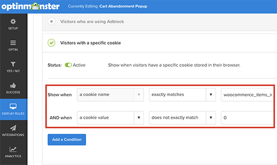 WooCommerce cookie tracking in OM