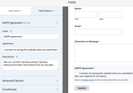 GDPR agreement field settings
