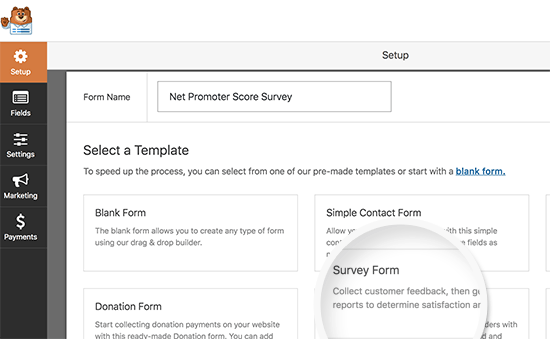 Create a new survey form