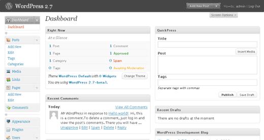The History of WordPress - WordPress 2.7 Dashboard