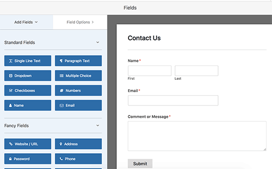Creating a contact form in WordPress