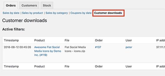 Downloads van klanten